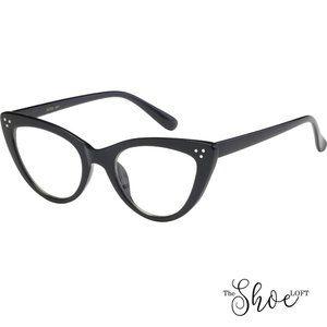 The Shoe Loft Accessories - Black or Tortoise Non-Prescription Cat Eye Glasses